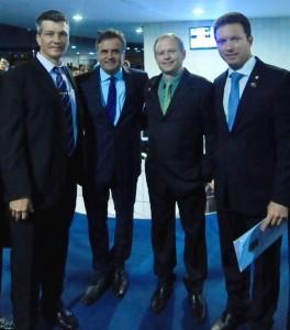 Marcelo Braun, Aécio Neves, Henrique Lagemann e Nelson Marchezan Jr. (Foto: Divulgação)