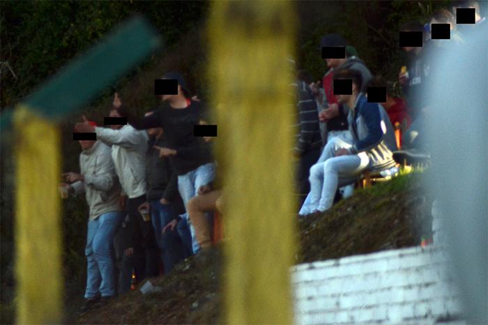 Grupo de torcedores que ofendeu o jogador, estava na lateral do campo, próximo a marca do escanteio. (Foto: Divulgação)